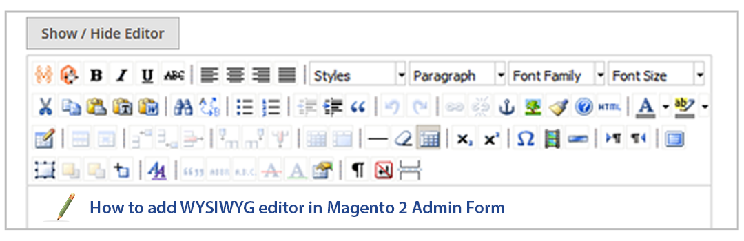 How to add WYSIWYG editor in Magento 2 Admin Form