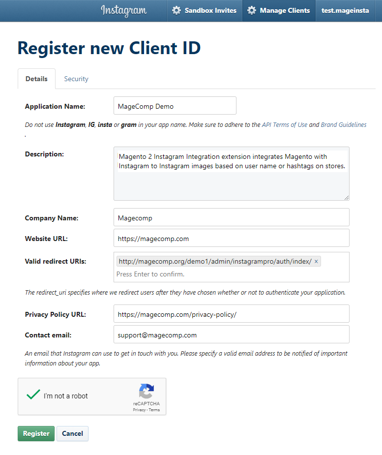 Instagram Client Fill Registration Form