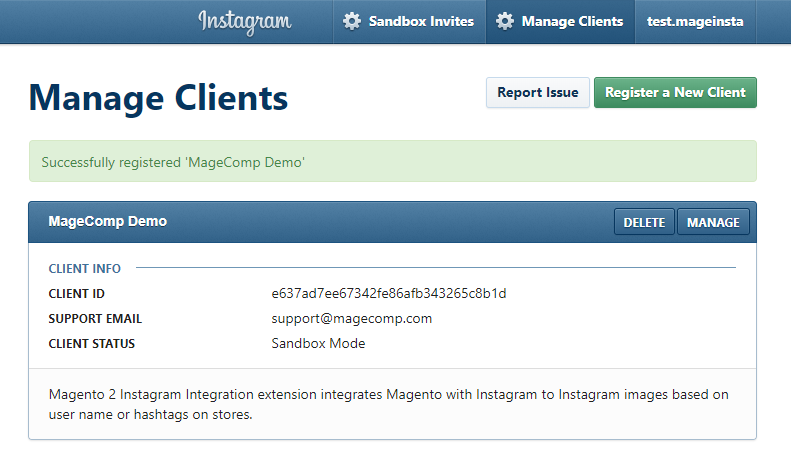 Instagram Client Registration Successful