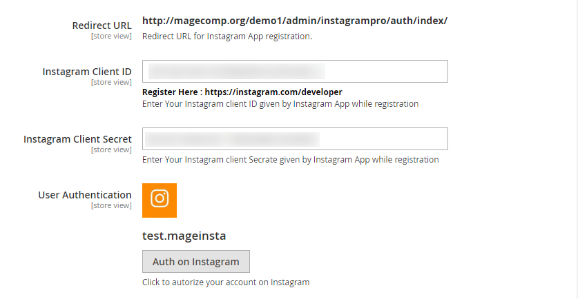 Instagram Extension Backend Configuration with Keys