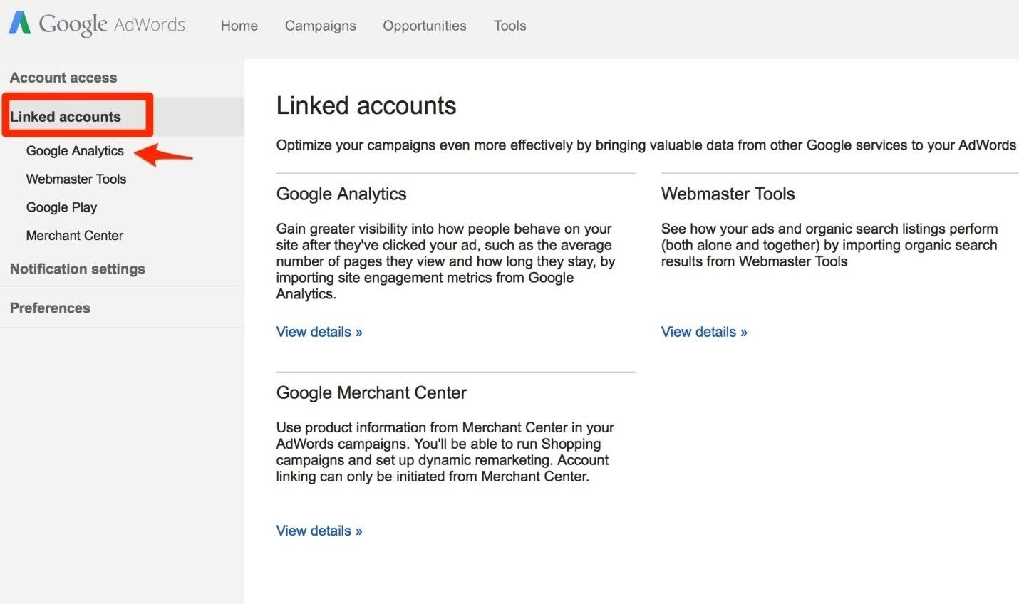 adwords linked account