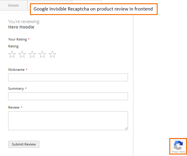 google-invisible-recaptcha-on-product-review