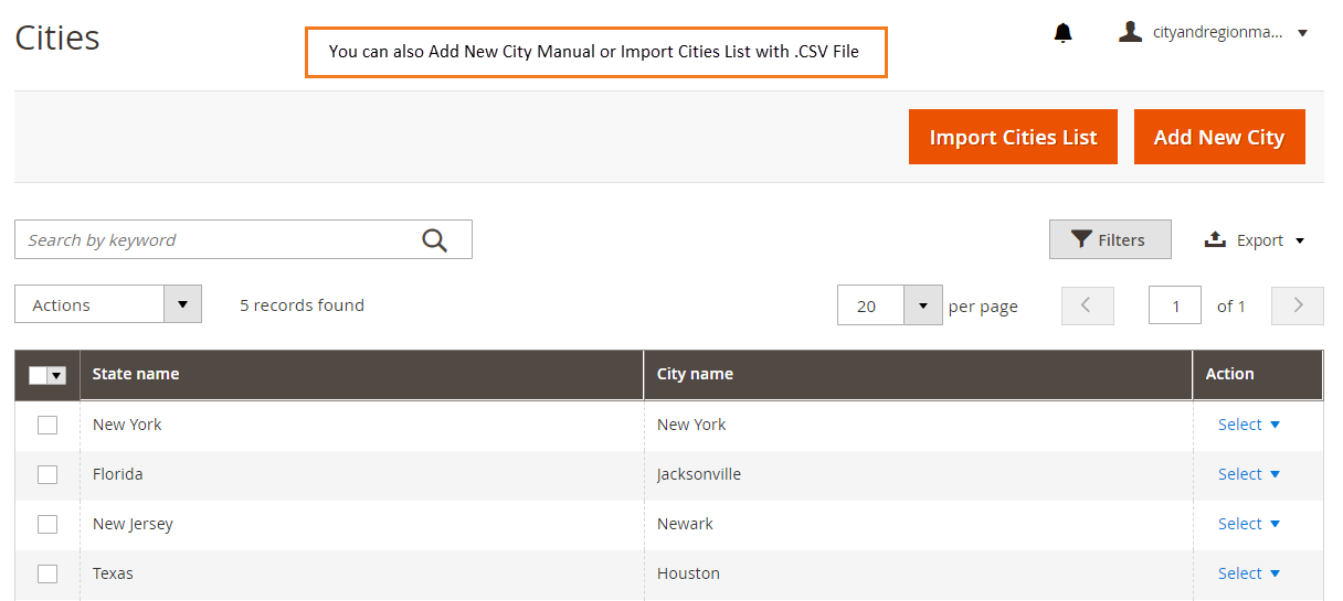 4.Add cities from back-end: