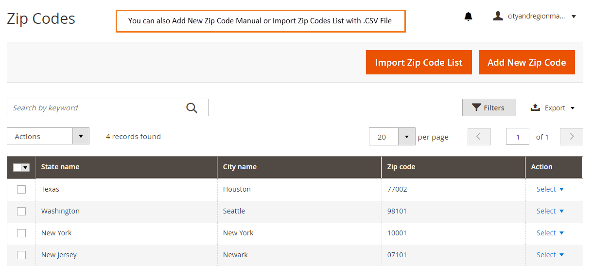 Add zip codes from back-end