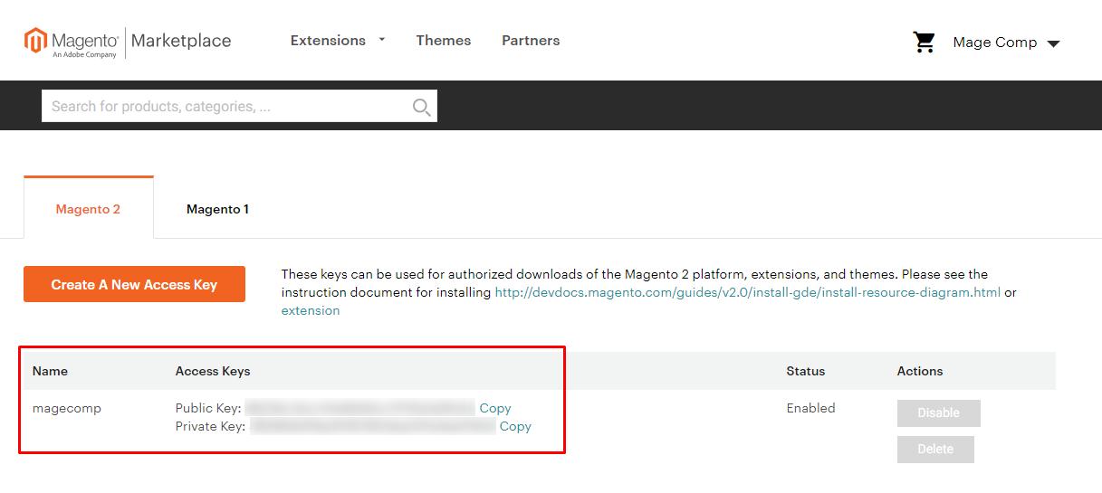 Magento Marketplace Access Keys