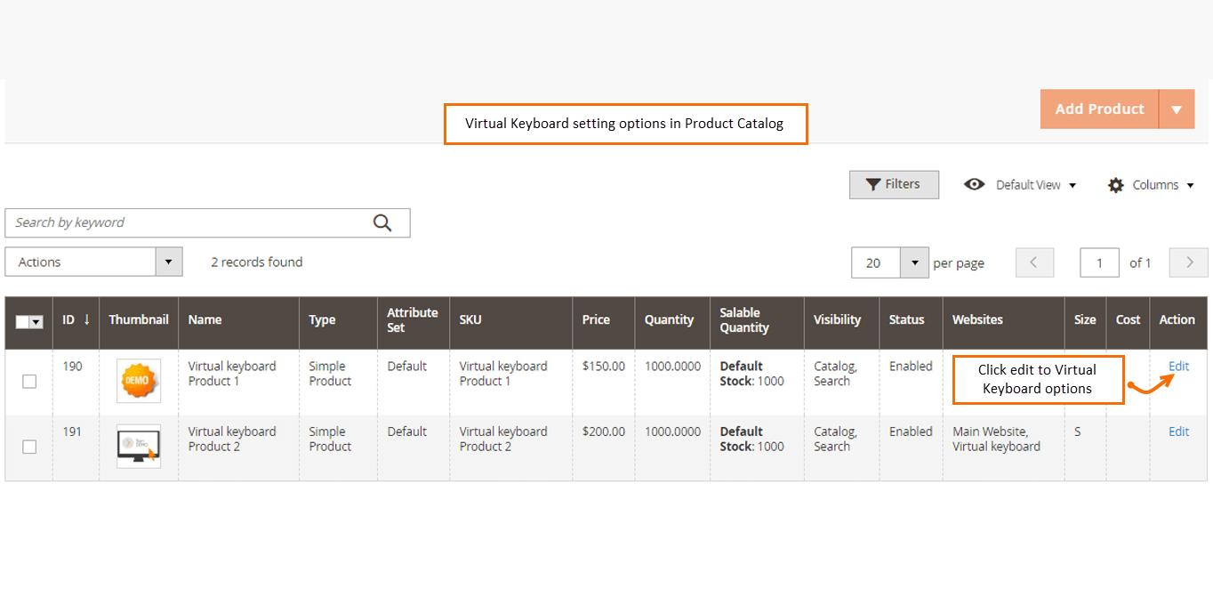 option to edit virtual keyboard extension magento 2