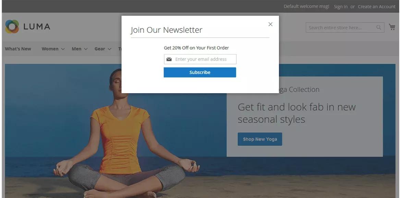 Newsletter Popup of Desktop Screen View