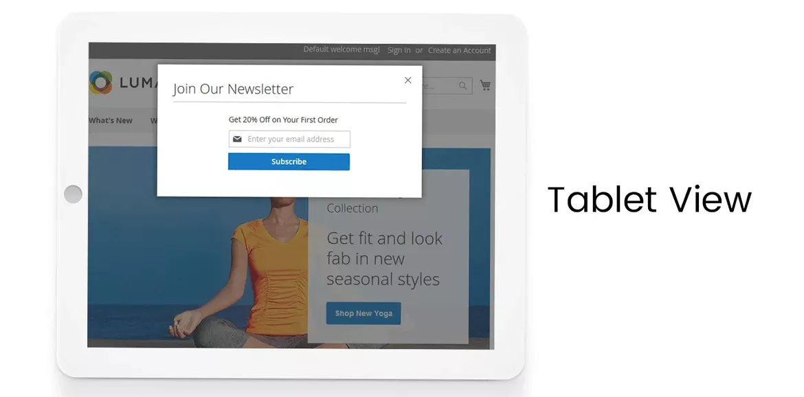 Newsletter Popup of Tablet Screen View